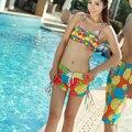 Traje de baño Nuevo año 2017 feminino Shorts Casual Pantalones Marca Bañadores beach summer Mujeres impresión floral del traje de baño junta