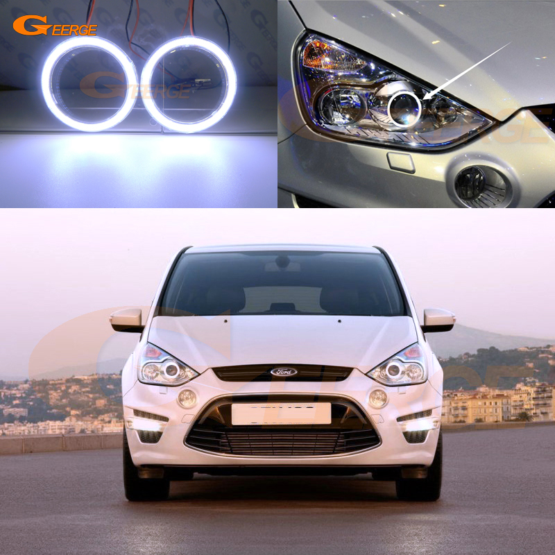 For Ford S-Max 2006-2014 Xenon headlight Excellent angel eyes Ultra bright illumination COB led angel eyes kit halo ring for ford maverick 2005 2006 2007 excellent led angel eyes kit multi color ultra bright rgb led angel eyes halo rings