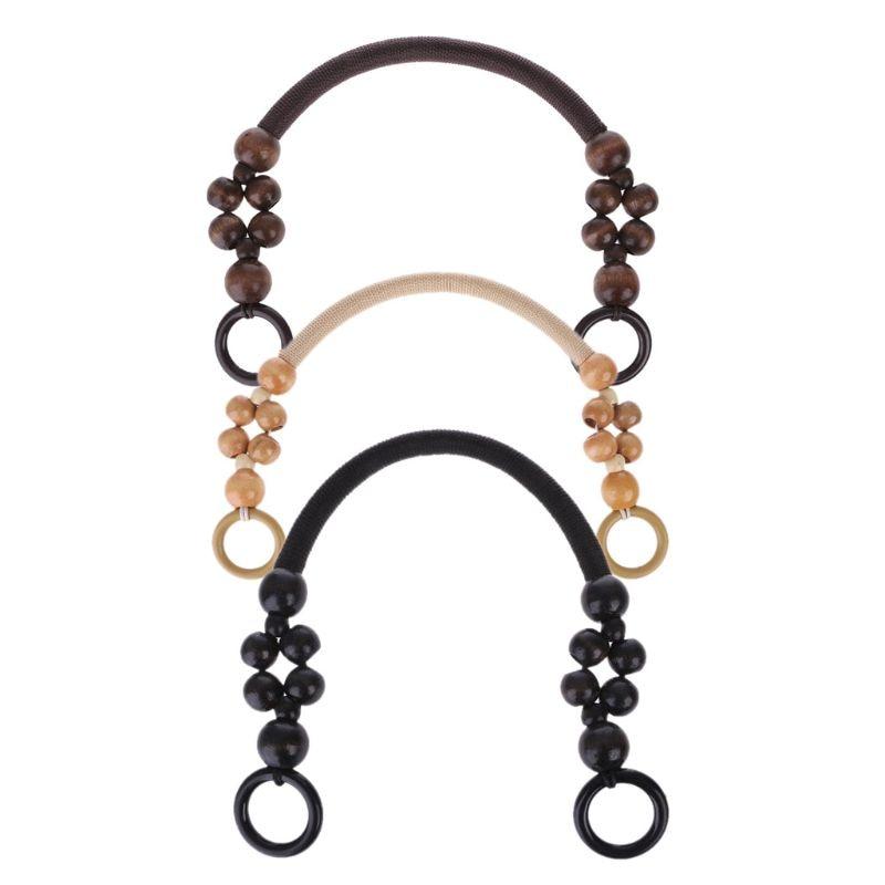 THINKTHENDO Bag Handle Wood Bead Rope Bag Strap Handle Shoulder Belt For Handbag DIY Replacement Bag Accessories