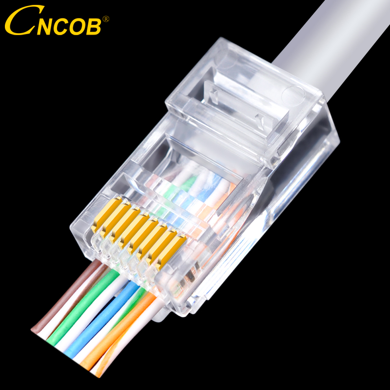 CNCOB Cat5e RJ45 8P8C Perforated Ethernet Connectors 50u Gold-plated Modular Network Plug Network Cable Connector Rj-45 30pcs