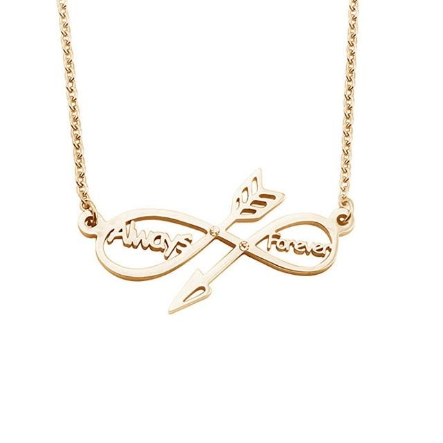 f6f9c60ec019 Personalizado personalizado nombre infinito flecha personalizado dos nombres  collar siempre joyería regalo para mujeres