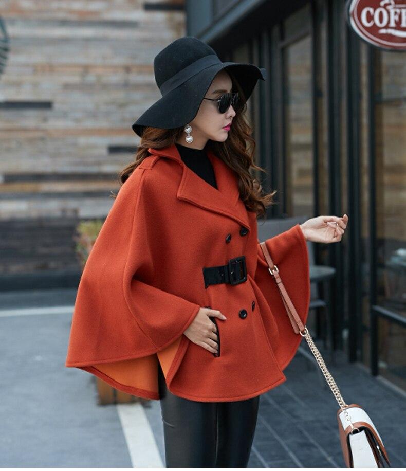 Подиумное черное пончо накидка зимнее пальто модное женское Шерстяное твидовое плотное пальто с рукавами летучая мышь с отложным воротником теплое шерстяное пальто