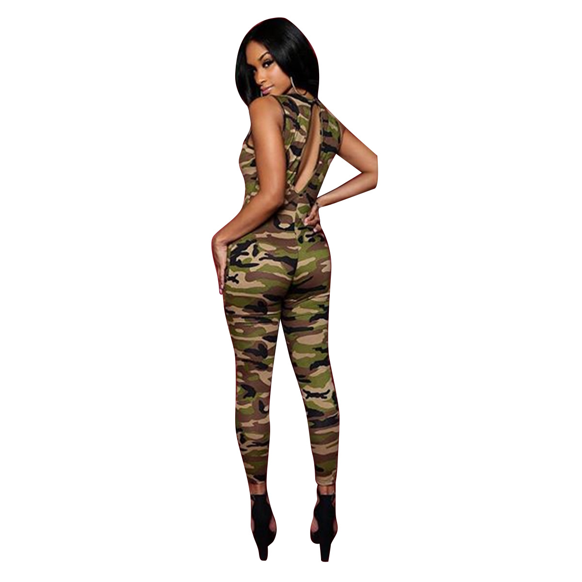 NEW Ropa Sexy Camouflage Bandage Sexy Jumpsuits Skinny Long Bodysuit Sleeveless Hollow Bodycon Overall Rompers Womens Jumpsuit