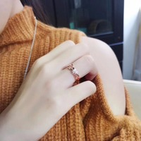 New Hot brand Cross Zircon Ring Fashion Female Jewelry France paris rose gold Women Rose Gold wedding Rings for Party