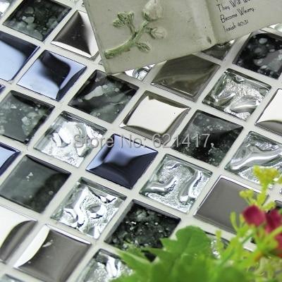 crystal glass ice crack plating metal mosaic tiles for bathroom home improvement kitchen backsplash misac tiles free shipping