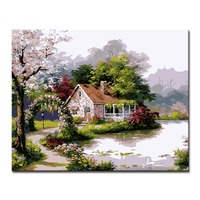 DIY Oil Painting By Numbers HandPainted Beautiful Villa Lakes Landscape Canvas Pictures Home Decor Living Room