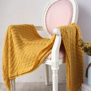 Image 2 - Knitted Throw Travel Blanket Grey Yellow Black Grey Sofa Throw Blanket Tassels Air Condition Blanket Diamond Acrylic 130x170cm