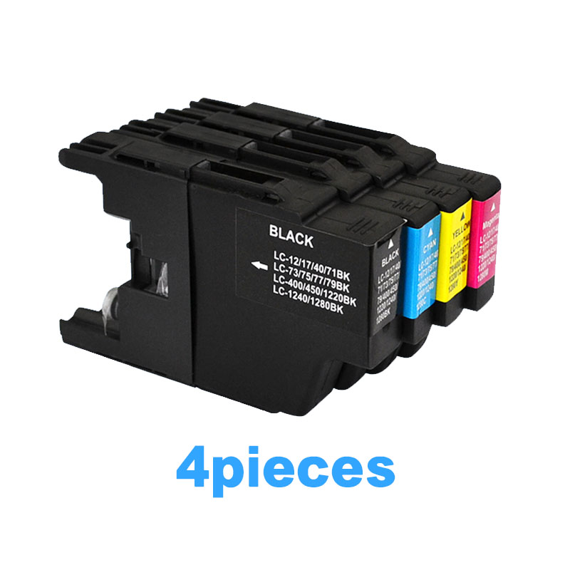 4pcs Ink cartridge For brother LC12 LC17 LC71 LC40 LC73 LC75 LC77 LC79 LC400 LC450 LC1220 LC1240 <font><b>LC1280</b></font> MFC-J6910CDW Printer image