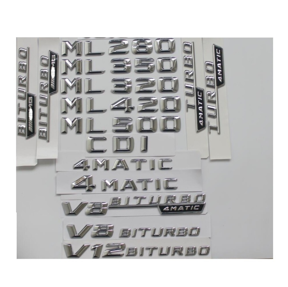 Chrome Trunk Letters Badge Emblem Emblems for Mercedes Benz ML55 ML63 AMG ML300 ML320 ML350 ML400 ML500 4MATIC CDI W166 W164