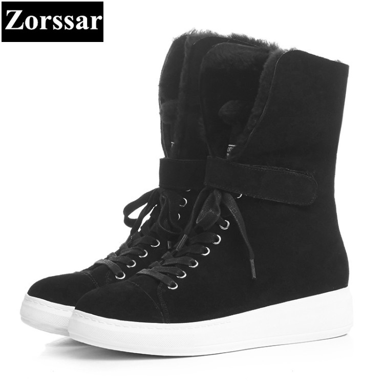{Zorssar} 2017 NEW winter warm Female shoes leisure flat plush short snow boots suede Casual lace up womens ankle Boots shoes front lace up casual ankle boots autumn vintage brown new booties flat genuine leather suede shoes round toe fall female fashion