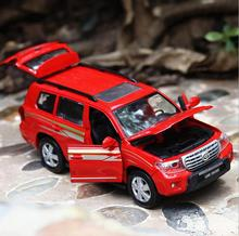 1:32 alloy pull back  car model, high imitation Toyota CRUISER, 4 open the door SUV, music flash toy vehicle, wholesale