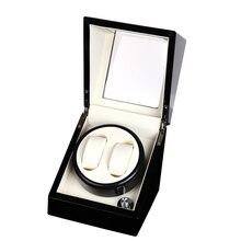ФОТО 2+0 glossy wood balck paint white leather inside watch winder box,watch winding box winder