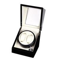 2+0 Glossy Wood Balck Paint White Leather Inside Watch Winder Box,Watch Winding Box Winder