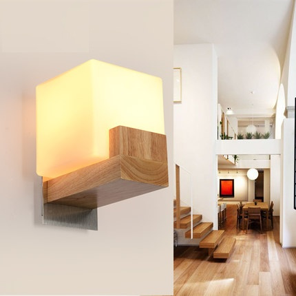 Simple Wooden Glass Wall Lamp Modern LED Wall Light Fixtures For Bedroom Indoor Home Lighting Bedside Wall Sconce simple modern led wall lamp reading switch adjust wall light fixtures home fabric shade bedside wall sconce indoor lighting