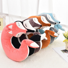 30*30*8CM Cute Fox Animal Cotton Plush U Shape Neck Pillow Travel Car Home Pillow Nap Pillow For Health Care the new cute and colorful plush toy star pillow home furnishing decorative nap pillow for children 45