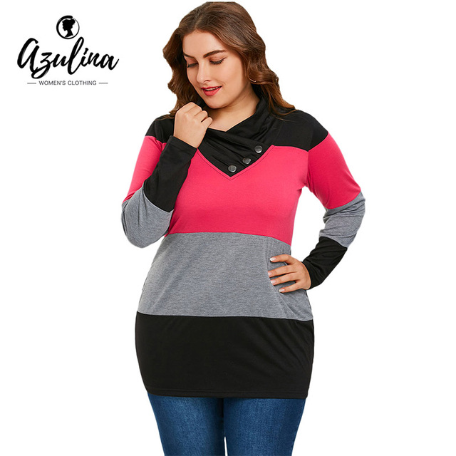 AZULINA Plus Size Tops Women T Shirt Long Sleeve Heaps Collar T-Shirt 2018  Spring Casual Buttons Panel Striped Tshirts Pullover 768836dd8