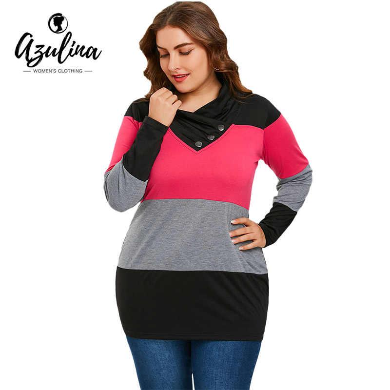 a4a1e67f AZULINA Plus Size Tops Women T Shirt Long Sleeve Heaps Collar T-Shirt 2018  Spring