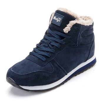 Зимние ботинки, мужская обувь, модные теплые меховые мужские ботинки из флока, большие размеры, botas hombre, теннисные кроссовки, Зимние ботильон...
