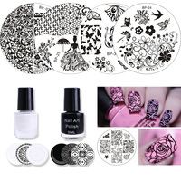 7 Pcs Born Pretty Chic Lace Rose Flower Queen Pattern Nail Art Stamping Template Image Stamp