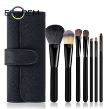 ESOREM 7 Pcs Horsehair Soft Makeup Brush Multicolor Wood Handle Brushes With Bag Tapered Crease Brochas Maquillaje 062501