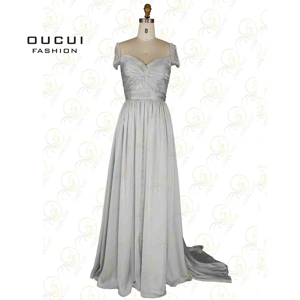 Chiffon Fabirc Ivory And Silver Gray Color Short Sleeve Name Brand  Oscar Prom Dress OL102092