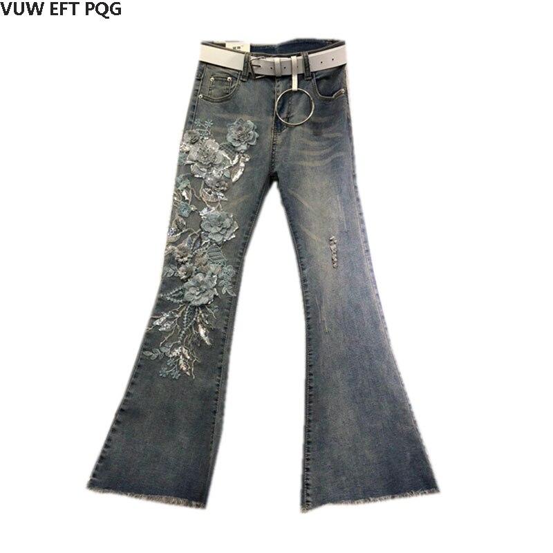 Trou Brut Pantalons Pantalon Femelle Mince Européenne Cru Blue Nouvelle Élastique Cowboy Pattes Station Minceur Automne D'éléphant Tissu CT6CdwqWnt