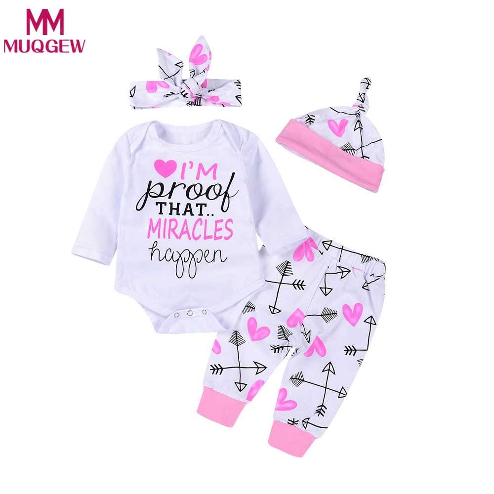 72d2e299e38f 2018 Spring Autumn Newborn Baby Girls Romper+Arrow Legging Pants Jumpsuit  Bodysuit Hat Infant Winter