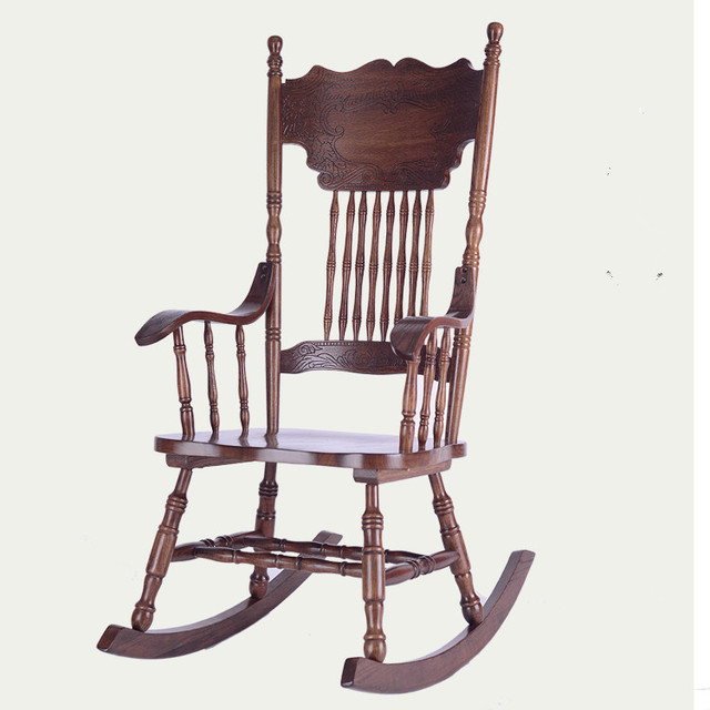 antique living room chair styles adjustable height high ameircan rocking carved oak wood furniture wooden vintage adult relax swing arm