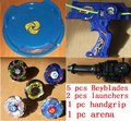 hot sell free shipping beyblade set(5 beyblades + 2 launchers +1handles + stadium  )