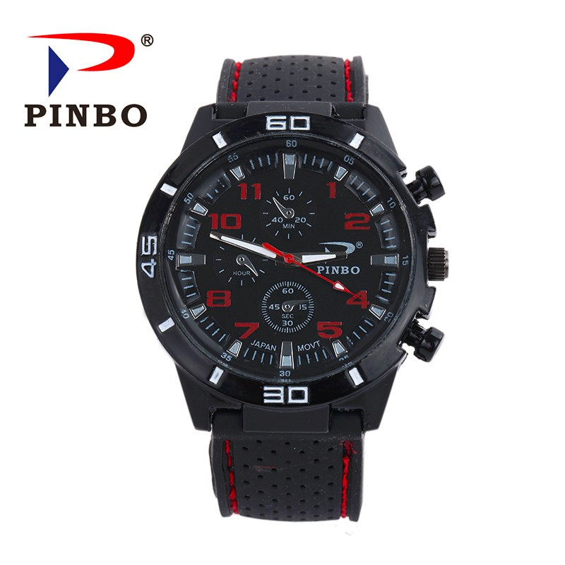 2017 New PINBO Brand Men Sports Quartz Watch Men Silicone Strap Military Wrist Watches Relogio Masculino Clock Hot Sale free shipping sports fashion silicone quartz watch men v6 brand hours big face wrist watch c6428