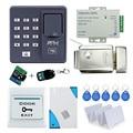 Kit completo biométrico de impressões digitais scanner X6 + eletrônico de controle lock + alimentação + botão exit + porta bell + controle remoto + chave cartões
