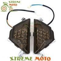 Front Smoke LED Lens Motorcycle Turn Signal Indicator Light Bulb Lens Lamps Cover For Kawasaki Ninja 300R EX300 2013 2014