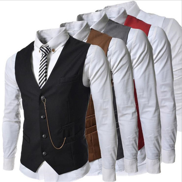 2016 Fashion Men's Waistcoat Metal Chain Decoration Slim Business Male Casual Vest Colorful Homme Stylish Brand Clothing 511 z5