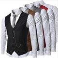 2016 homens da Moda Colete Corrente de Metal Decoração Fino Negócio Colete Casuais Masculino Colorido Homme Roupas de Marca Elegante 511 z5