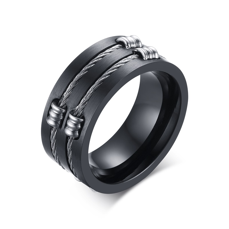 meaeguet jewelry 10mm titanium mens black wedding bands round rings with double wire cable in slit - Black Wedding Rings For Men
