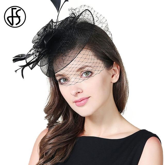 8961b3fc6bbc3 FS Feather Fascinator Hat Ladies Small Organza Derby Hats Six Colos Elegant Flower  Women Pillbox Church Headwear 2018 Fashion