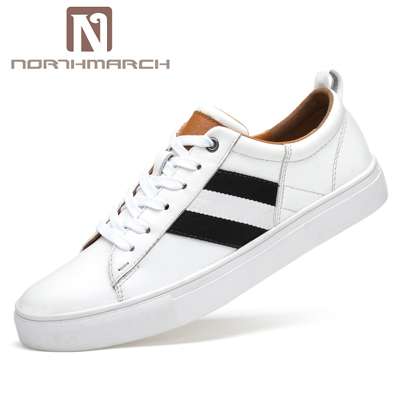 NORTHMARCH White Shoe Men Casual Spring Autumn Designer Flat Shoes Men Genuine Leather Elegant Lace-Up Sneakers Men Krasovki hot sale casual shoes men spring autumn solid lace up man fashion flat with pu leather outdoors shoe casual flat up leather shoe