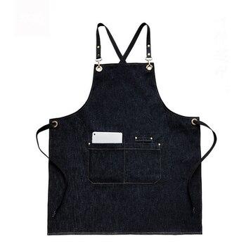 Herren Kochschürzen | Denim Küche Kochen Schürze Mit Einstellbare Baumwolle Band Große Taschen Blau Barista Männer Und Frauen Homewear