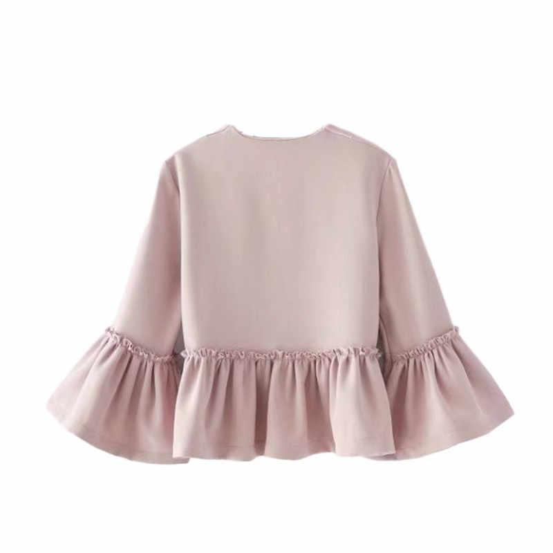Frauen Süße Rüschen Jacke Öffnen Stich Design Flare Hülse Mäntel Solide Damen Casual Marke Oberbekleidung Tops