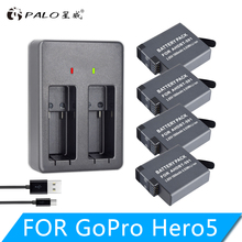 4PCS 1800mAh AHDBT-501 Battery Pack with USB Charger for GoPro Hero 7 6 5 Black Sports Cam for Go Pro 7 Action Camera Accessory видеодомофон sunbo 7 6 vdp 311 cam 201