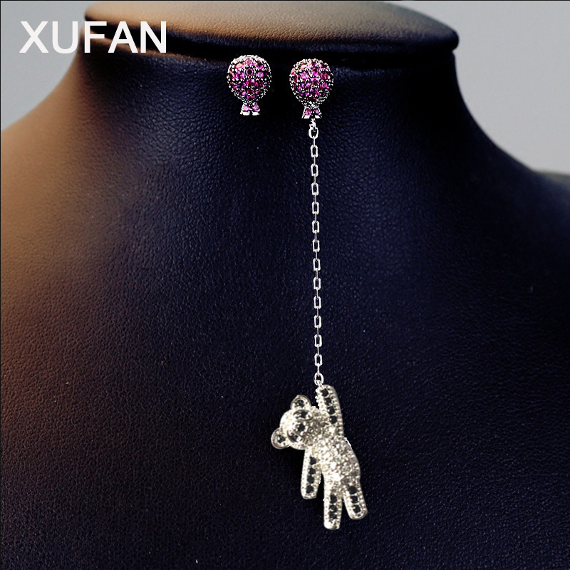 Hot Balloon Panda Luxury CZ Stud Earrings Women Fashion Pink Clear Cubic Zircon Bear asymmetrical earrings Girls Trendy Earrings