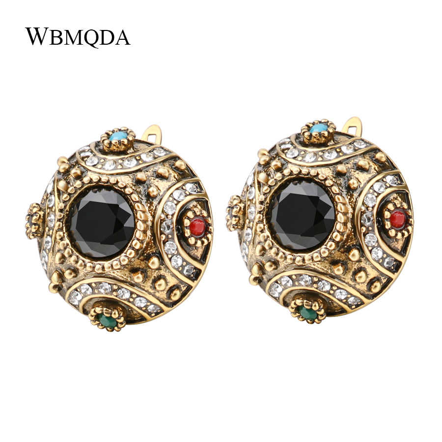 Vintage Besar Bola Bohemian Earrings Untuk Wanita Antique Emas Colorful Resin Stud Earrings Turki Perhiasan Pernikahan Aksesoris
