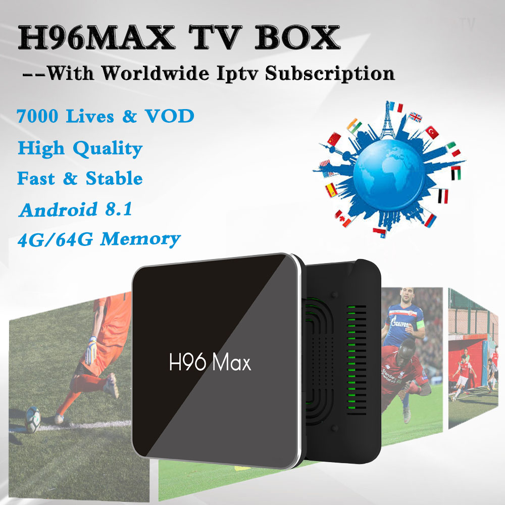 H96MAX S905X2 Android 8 1 TV Box With Acebird Pro Iptv Subscription Netherlands Germany Portugal Israel