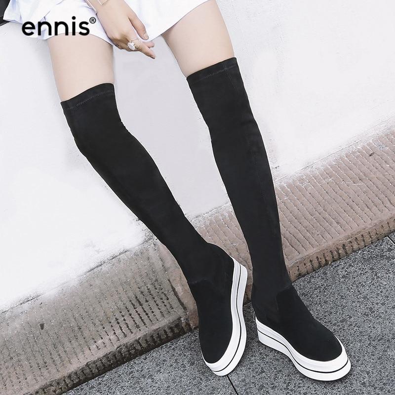 ENNIS 2019 noir sur le genou bottes plate forme femmes bottes extensibles genou haute daim cuir bottes hauteur augmenter chaussures Slim L782-in Cuissardes from Chaussures    1