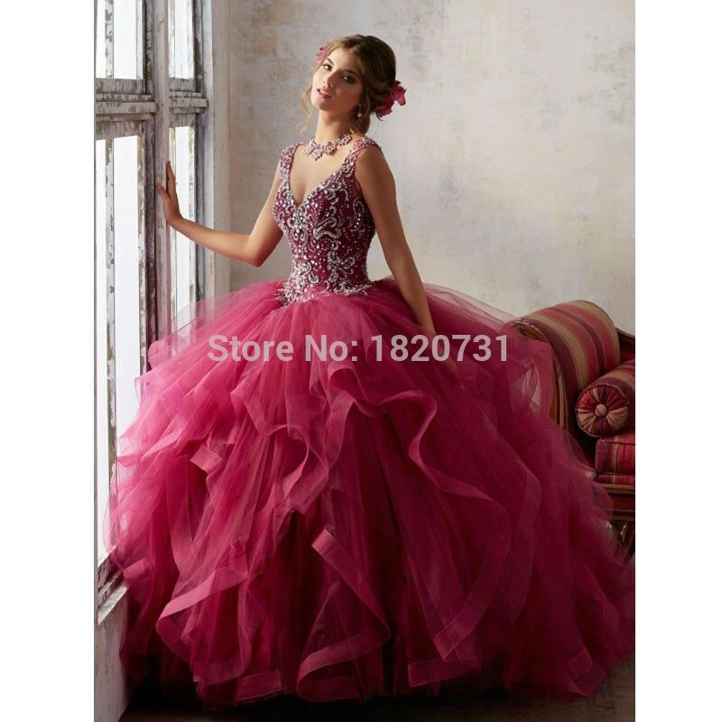 Beautiful Rose Red Lace Up Back Quinceanera Dress 2019 Beading Sequin Cap Sleeves Girls Debutante Dress Vestido de 15 nos thumbnail