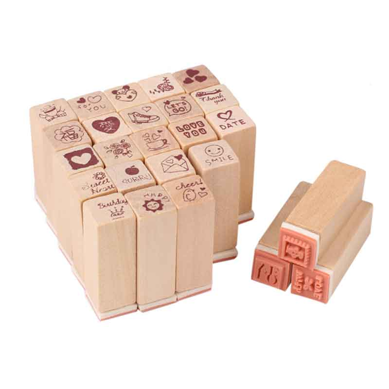 Unique Style 25pcs/box Love Diary Rubber Wooden Stamp Set DIY with Wooden Box Free Shipping unique keyboard button style storage box grass green