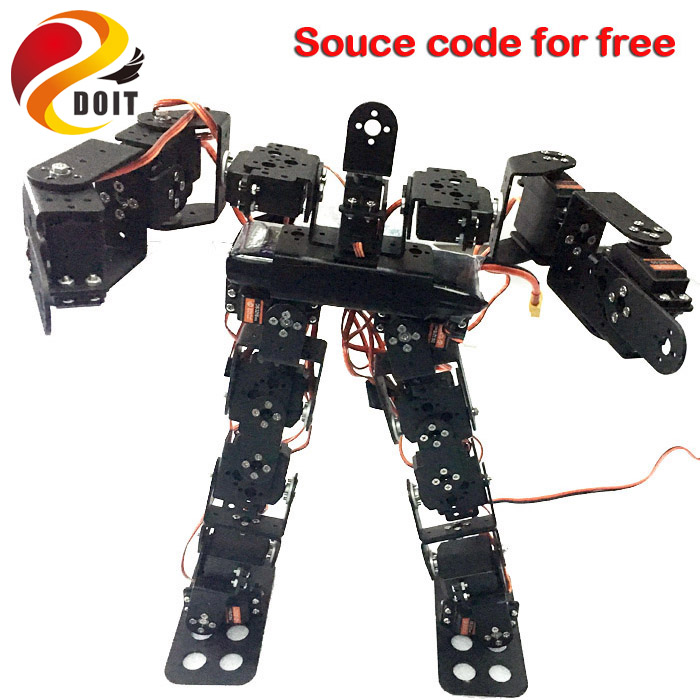Original DOIT 17DOF Biped Robotic Educational Robot Humanoid Robot Kit Servo Bracket Ball Bearing Black Free Send Source Code new 17 degrees of freedom humanoid biped robot teaching and research biped robot platform model no electronic control system
