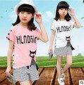 Niños niñas traje de manga corta 2016 nuevos niños del verano de algodón casual Camiseta grande virgen cortocircuitos de una pieza de ropa de la muchacha