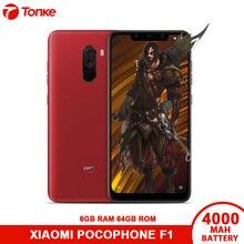 Küresel Sürüm Xiaomi cep telefonu POCOPHONE F1 6 GB RAM 64 GB ROM Snapdragon 845 20MP Ön Kamera Hızlı Şarj 3.0