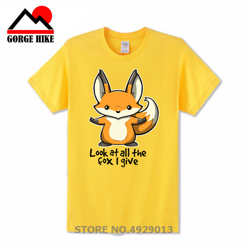 New Look at All the fox I give Men   T  -  shirt   Crazy Cartoon   T     Shirts   For Men Custom Cotton Short Sleeve Plus Size Clothing For Team